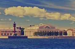 Petersburg. An arrow of Vasilevsky island,with a retro effect Stock Photos