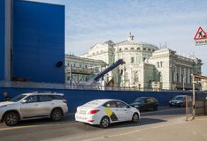 Petersburg, construction metro station Teatralnaya. ST. PETERSBURG, RUSSIA - OCTOBER 16, 2018: Construction of the new metro station Teatralnaya near the stock image