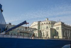 Petersburg, construction metro station Teatralnaya. ST. PETERSBURG, RUSSIA - OCTOBER 16, 2018: Construction of the new metro station Teatralnaya near the stock photography