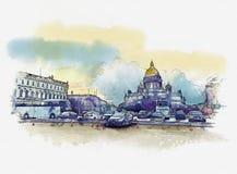 Petersburg Isaakievsky katedra panoramy Petersburg st historycznej struktury Rosja St Isaac katedra, waterco ilustracji