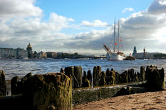 Petersburg. Panorama of the Neva. Saint Petersburg. Panorama of the Neva. View of the Hermitage, the Admiralty, Vasilnvsky island sailboat Stock Photo