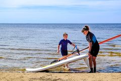 Petersburg Rosja 05 27 2018 Kitesurfing mistrzostwo Rosja obrazy stock