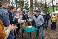 Petersburg Rosja, Kwiecień, - 24, 2016: Paintball turniej w Snaker klubie między uczniem zespala się od pięć uniwersytetów Obraz Royalty Free