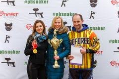 Petersburg Rosja, Kwiecień, - 24, 2016: Paintball turniej w Snaker klubie między uczniem zespala się od pięć uniwersytetów Obrazy Stock