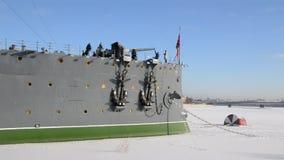 Petersburg Rosja Ludzie na krążownik zorzie zdjęcie wideo