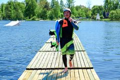 Petersburg Rosja 05 2018 Męski wakeboarder Obrazy Royalty Free