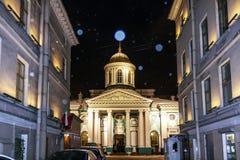 Petersburg Rosja, Styczeń, - 4, 2016: Armeński Apostolski kościół St Catherine Zimy noc w Petersburg obrazy stock