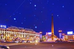 Petersburg Rosja, Styczeń, - 4, 2016: Zimy noc w Petersburg Ciężki śnieżyca obraz stock