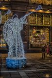 Christmas angels - New Year`s glowing scenery on the streets of St. Petersburg. Petersburg, Russia, 05,01,2017 Christmas angels - New Year`s glowing scenery on Royalty Free Stock Photo