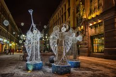 Christmas angels - New Year`s glowing scenery on the streets of St. Petersburg. Petersburg, Russia, 05,01,2017 Christmas angels - New Year`s glowing scenery on Stock Photo