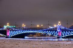 Trinity bridge with Christmas illumination in Petersburg, Russia Stock Photography