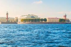 petersburg russia st Panorama av den Vasilievsky ön spottar - rostral kolonner, börsbyggnad och det beställnings- huset Royaltyfri Fotografi