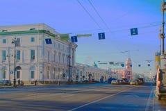 petersburg saint Nevsky utsikt i vinterdagen Arkivbild