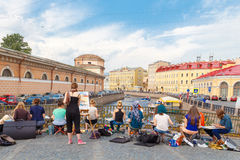Petersburg.  Theatrical bridge. Stock Images