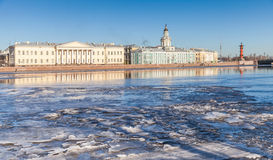 Petersburg. Winter landscape with floating ice on Neva river Royalty Free Stock Image