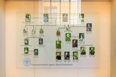 Petersburgo, Rússia - 2 de julho de 2017: Árvore genealógica do Romanovs mim fotos de stock royalty free