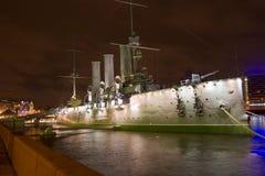 Petersburgu aurory statku st. Zdjęcie Royalty Free