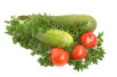 Petersilie, Kürbis und Tomaten Stockfotografie