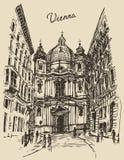 Peterskirche In Vienna Austria Hand Drawn Sketch Stock Image