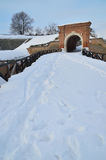 Peterwaradein fortress. Detail of Peterwaradein fortress covered with snow Royalty Free Stock Photos