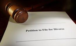 Petição do divórcio Fotografia de Stock