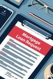 Petición del préstamo de hipoteca - ejemplo isométrico del tono medio hermoso del vector stock de ilustración