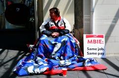 Petición sin hogar dinero en Auckland Nueva Zelanda Fotografía de archivo