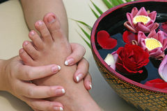Peticure. With a Thai style flower bath Stock Photos
