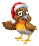 Petirrojo de la historieta en la Navidad Santa Hat Fotografía de archivo libre de regalías