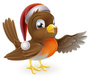 Petirrojo de la Navidad del sombrero de Papá Noel Foto de archivo libre de regalías