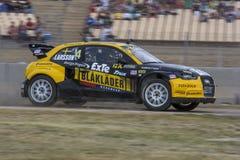 Petirrojo LARSSON Audi A1 Supercars Barcelona FIA World Rallycross Championship fotografía de archivo libre de regalías