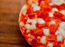 Petisco da pizza da mordida do Bagel imagens de stock