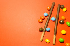 Petisco da sobremesa no fundo cor-de-rosa Fotografia de Stock
