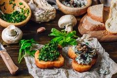 Petisco italiano Bruschetta com verdes e cogumelos imagens de stock