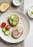 Petisco saudável - sanduíches com queijo creme, pepino e rabanetes Foto de Stock