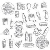 Petiscos do fast food e bebidas do takeaway Fotografia de Stock Royalty Free