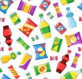 Petiscos e teste padrão sem emenda das bebidas Sacos do fast food e garrafas de soda snacking Envoltório do vetor dos produtos da ilustração stock