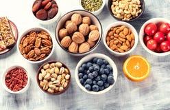 Petiscos saudáveis Conceito saudável do alimento fotos de stock
