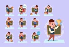 Petit écolier se tenant au-dessus de l'ensemble d'émotion d'écolier de panneau de classe illustration stock