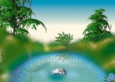 Petit étang illustration de vecteur