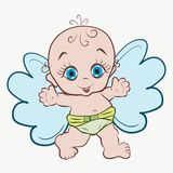 Petit ange drôle avec des boucles sur sa tête illustration stock