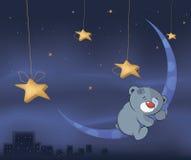 Petit animal d'ours et la bande dessinée de lune Photographie stock