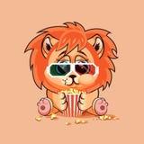 Petit animal de lion observant un film Images libres de droits