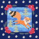 Petit animal gai de renard rouge jouant dans le beau modèle de patchwork de forêt dans un cadre floral illustration libre de droits