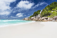 Petit Anse, La Digue, Seychellen Royalty-vrije Stock Afbeeldingen