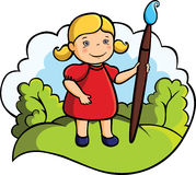 Petit artiste, fille de bande dessinée Image stock