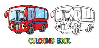 Petit autobus drôle avec des yeux Livre de coloration Photos stock