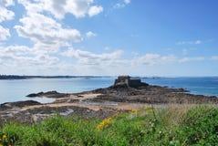 Saint-Malo. Petit Bé fort at low tide Stock Photos