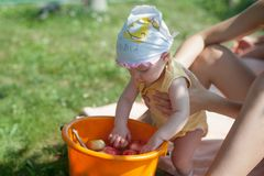 Petit bébé avec un seau de pommes dans le jardin Fille jouant dans le verger de pommier Amusement extérieur pour des enfants Nutr Photographie stock