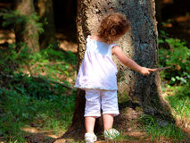 Petit bébé dans la forêt Photographie stock